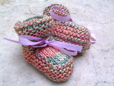 handknit silk booties